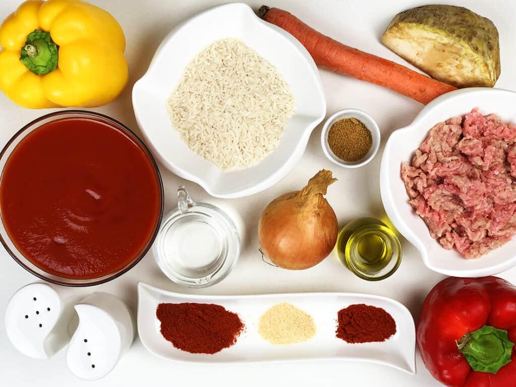 Zupa z mięsem mielonym - składniki przed przygotowaniem