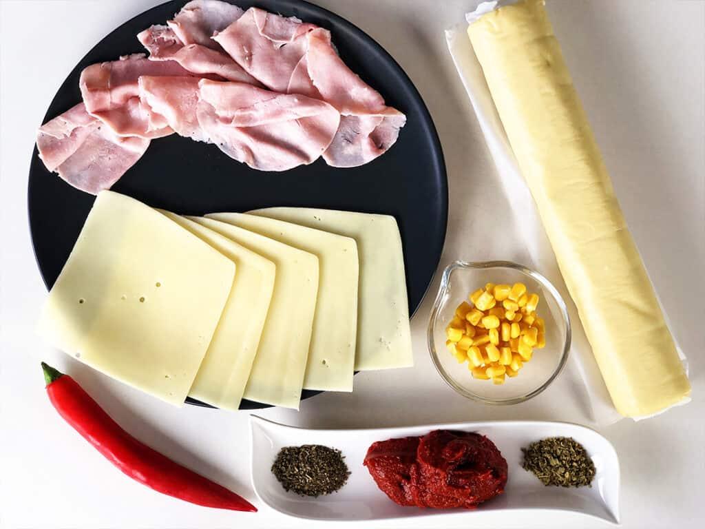 Ślimaki z ciasta francuskiego - składniki przed przygotowaniem