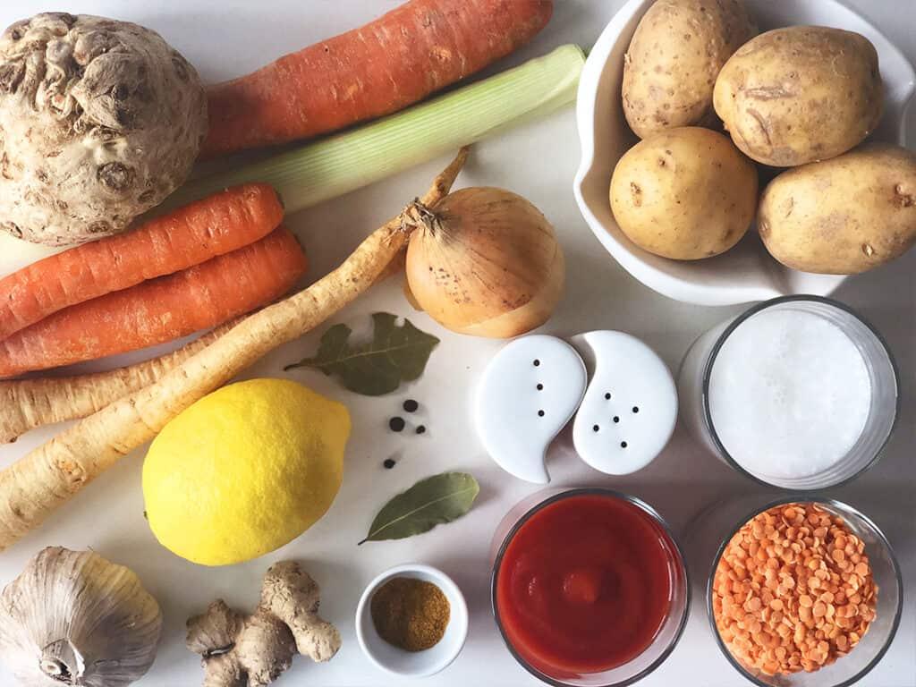 Zupa z czerwonej soczewicy - składniki przed przygotowaniem