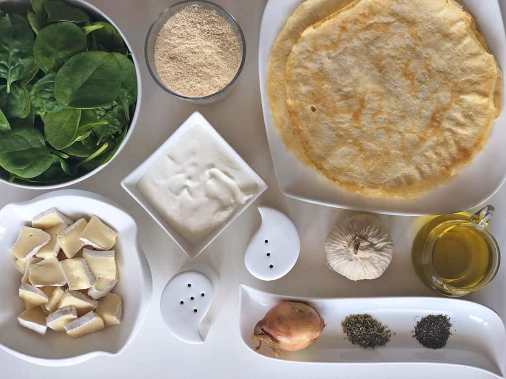 Krokiety z serem camembert i szpinakiem - składniki przed przygotowaniem