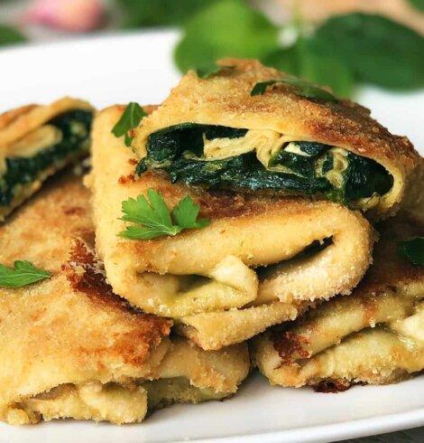 Krokiety z serem camembert i szpinakiem